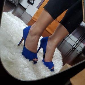 Zara ROYAL BLUE Suede Platform Stilettos 37